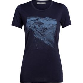 Icebreaker Tech Lite PCT Sketchbook T-shirt Col ras-du-cou Bas Femme, midnight navy